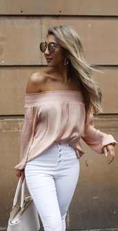 blouse,light pink,pink,peach,nude,ruffle,off the shoulder,off the shoulder top,long sleeves