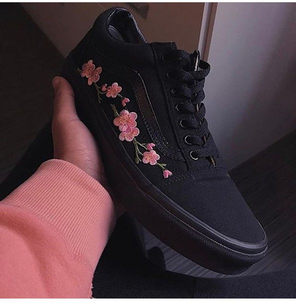 62f2e7552732f7 shoes vans old school flowers flowers rose embroidered black adidas nike  custom shoes floral vans vans