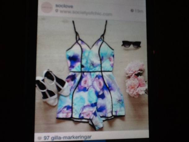 jumpsuit galaxy print summer flowers soclove