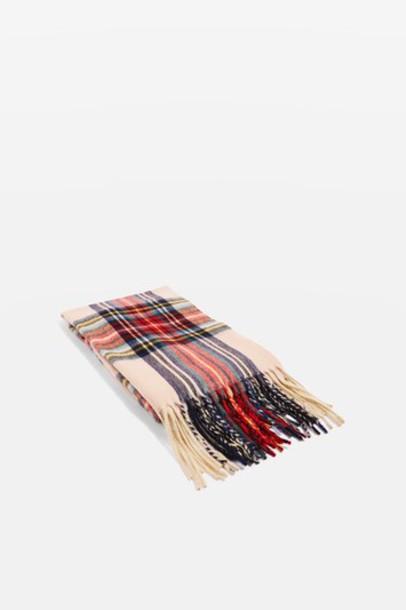 Topshop pale scarf tartan scarf pink tartan