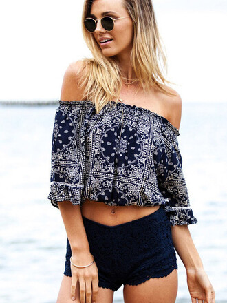 top off the shoulder black and white hot trendy long sleeves beach sexy summer pattern mns