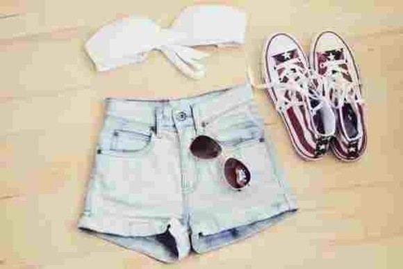 shorts usa converse white top jean shorts