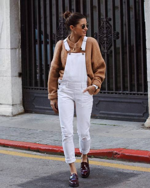 pants overalls dungarees sweater knit knitwear knitted sweater camel camel sweater shoes red shoes sunglasses