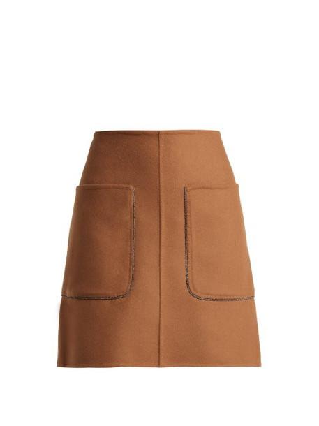 No. 21 - Crystal Embellished Wool Blend Mini Skirt - Womens - Camel