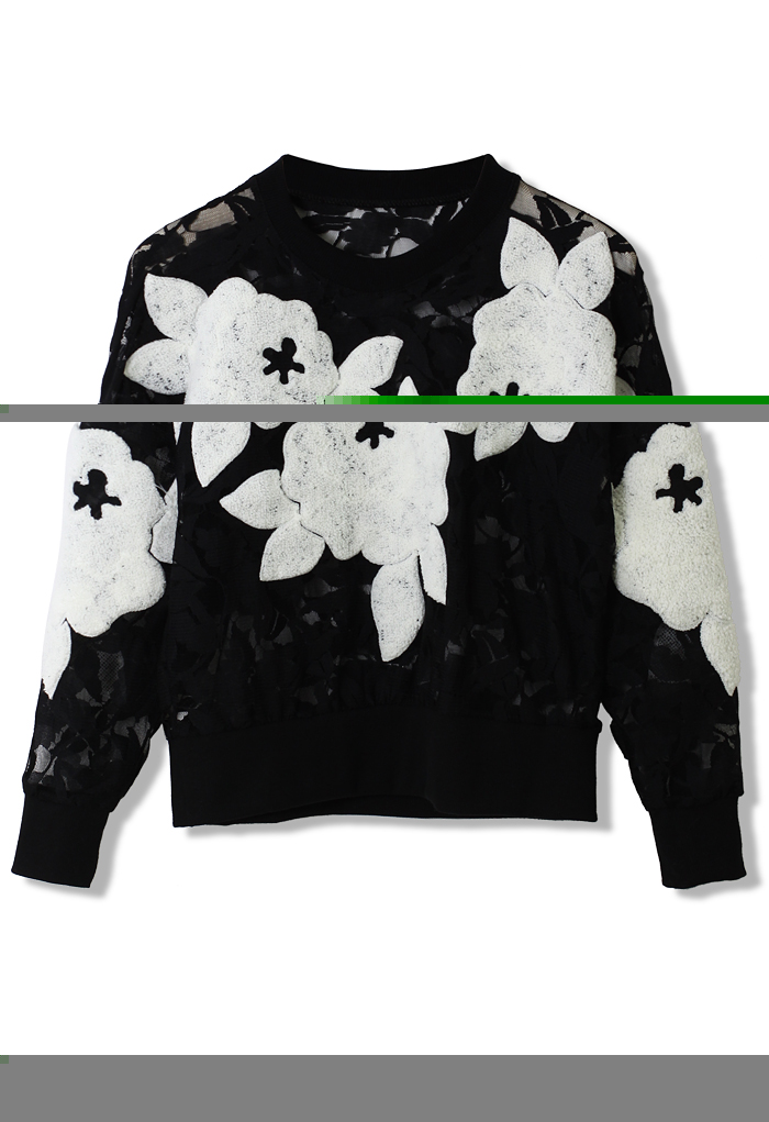 3D Floral Mesh Sweater - Retro, Indie and Unique Fashion