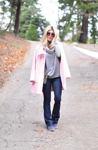 love maegan blogger jeans sunglasses flare pink coat grey sweater winter sweater coat sweater bag shoes