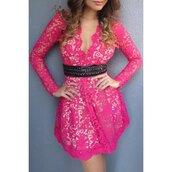 dress,pink,lace,fashion,hot pink,sexy,girly,feminine,long sleeves,pretty,stylish,rose wholesale-jan