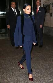 pants,nicole richie,dark blue,jacket,navy blue blazer,suit,jewels