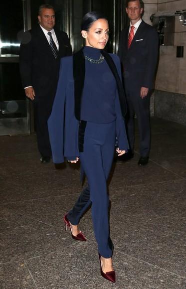 nicole richie jewels jacket pants dark blue navy blue blazer suit