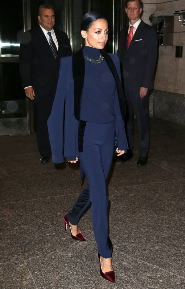 pants nicole richie dark blue jacket navy blue blazer suit jewels