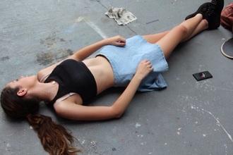 jean skirt pale