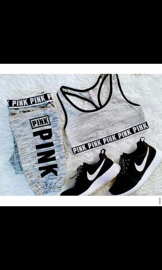 top pinkbrand grey sweatpants tank top shoes