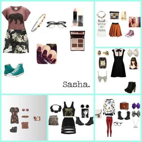 satchel hipster dress bows batman skirt nirvana wedged shoes full set floral t-shirt high waisted shorts converse boots hipster glasses flower crowns lipstick eye shadow makeup fashion beauty