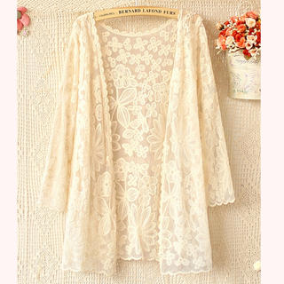 4 Sleeve Floral Lace Cardigan, Beige , One Size - Ringnor | YESSTYLE