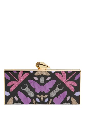geometric clutch black purple bag