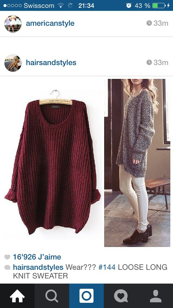 Red Batwing Long Sleeve Loose Knit Sweater - Sheinside.com
