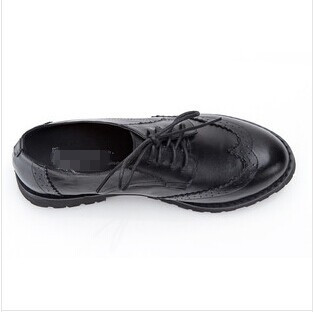 New Ladies platform genuine leather Oxford shoes women's Brogues british vintage carved loafers flats carved single casual shoe-in Flats from Shoes on Aliexpress.com