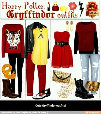 blouse tiger shirt tiger shirt harry potter red grunge sweater gryffindor knitwear knitted cardigan