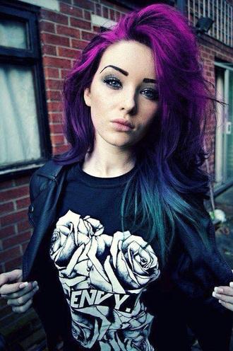 t-shirt black top top purple hair pastel goth