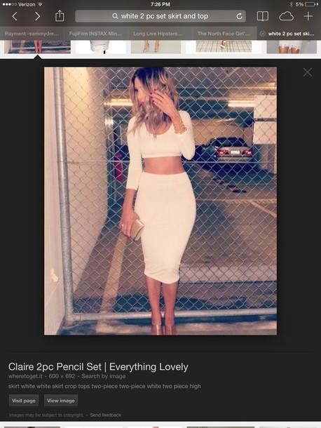 two-piece bodycon skirt white skirt