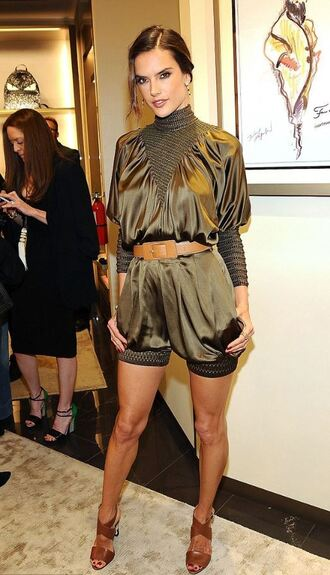 romper olive green sandals alessandra ambrosio shoes