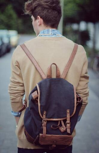 bag vintage backpack leather brown indie hipster old school dark blue mens accessories
