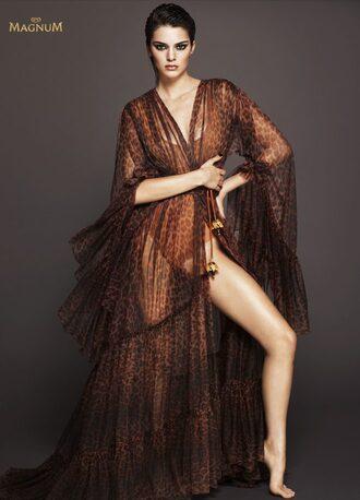 dress animal print swimwear kendall jenner editorial kardashians wrap dress leopard print
