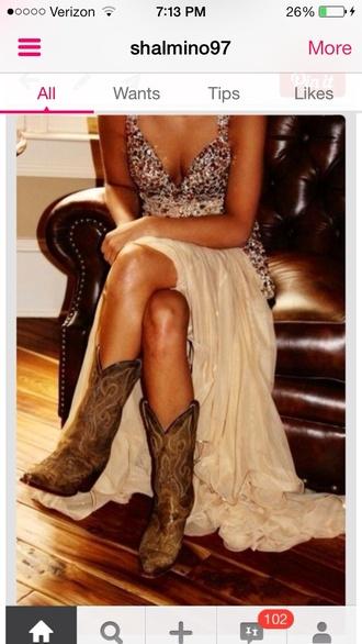 dress boots prom dress nude prom dress prom dress champagne dress champagne prom dress cowgirl boots bling sequins rhinestone poufy dress poofy dress