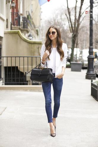 something navy blogger jeans t-shirt jacket shoes bag sunglasses