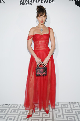 dress red dress red red prom dress red carpet red carpet dress bella hadid model off-duty cannes pumps purse bustier dress shoes