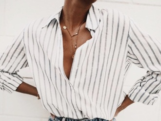 blouse striped top stripes collar shirt button up