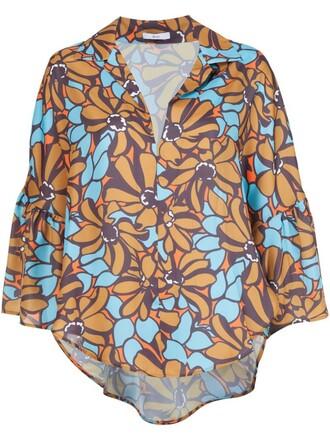 blouse floral print brown top