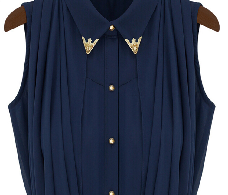Blue Cape Lapel Loose Chiffon Blouse - Sheinside.com