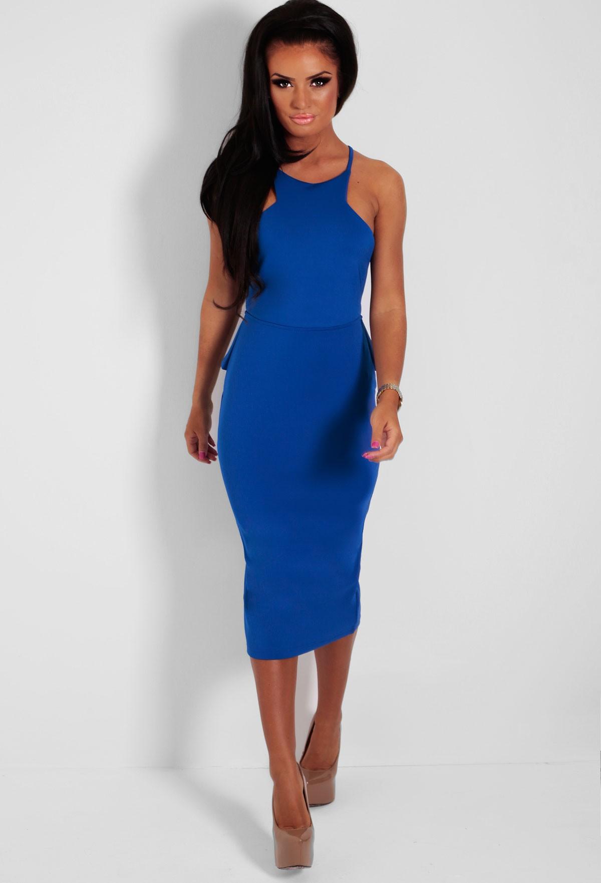 202c5ab17ea4 Osmeh Blue Backless Peplum Halter Midi Dress