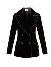 blazer,double breasted,embellished,black,velvet,jacket