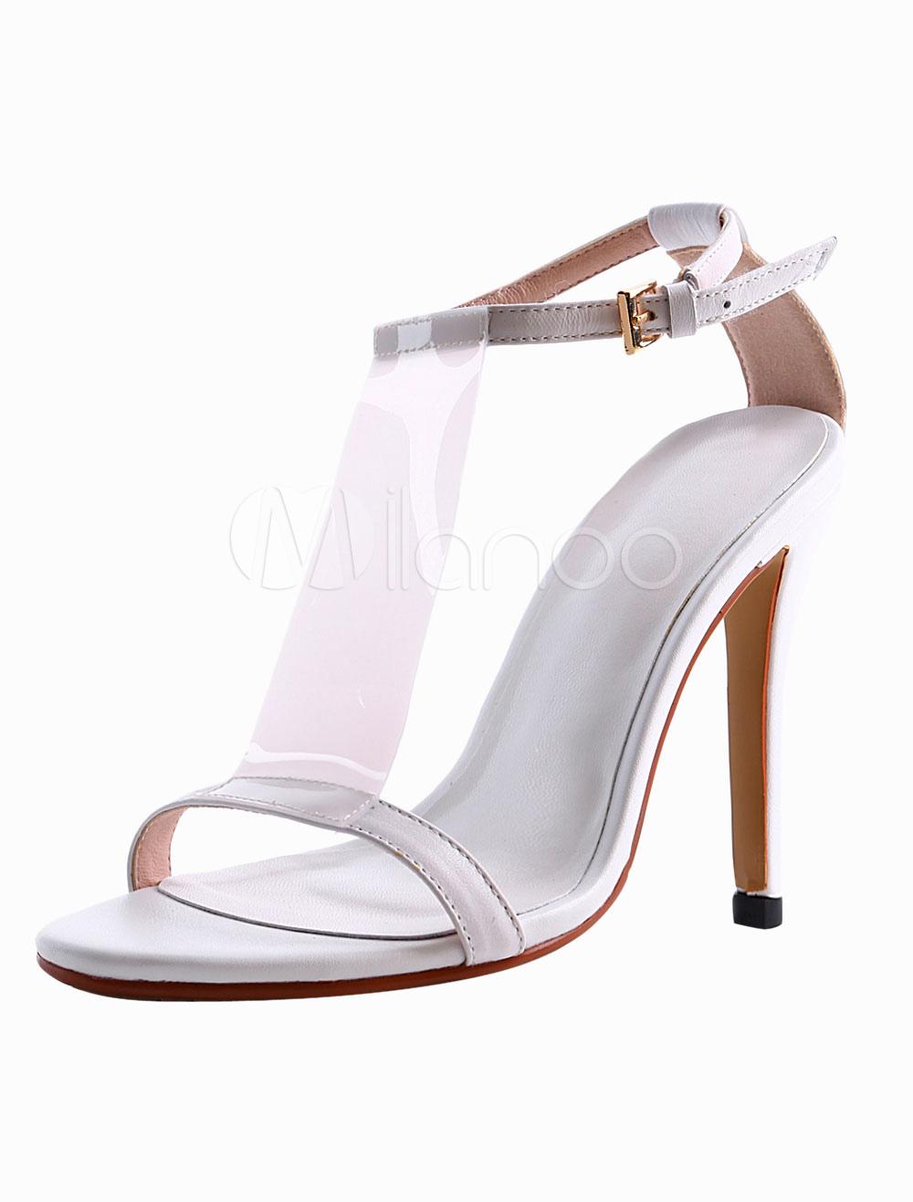 White Cowhide Stiletto Heel T-strap Sandals For Ladies