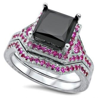 jewels black diamond ring set pink sapphire ring set princess cut diamond bridal wedding ring set with pink sapphire side stones evolees.com princess cut black diamond bridal ring set wedding ring set with pink sapphire