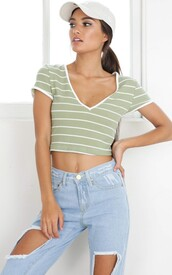 top,crop tops,stripes,stripe crop top,short sleeve crop top,green,white stripe,v neck