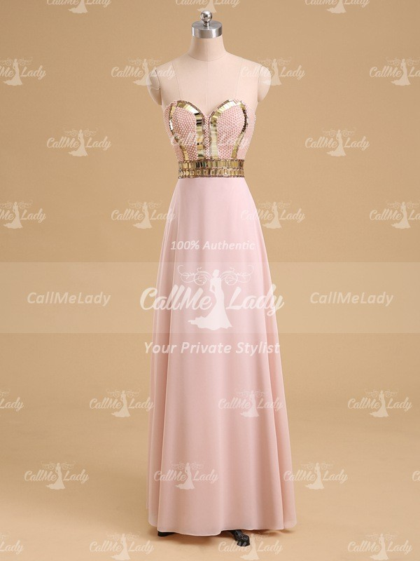 Pearl pink sweetheart long prom dresses with pearls - CallMeLady