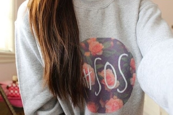 sweater grey floral 5 seconds of summer baggy