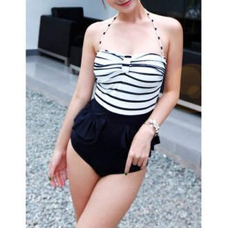 swimwear one piece swimsuit stripes black and white black white beach trendy hot cute rose wholesale-feb