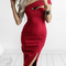 Strapless bodycon split dress|disheefashion