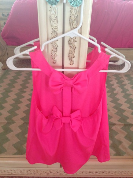 pink tank top shirt crop tank bows bow pink dress pink shirts