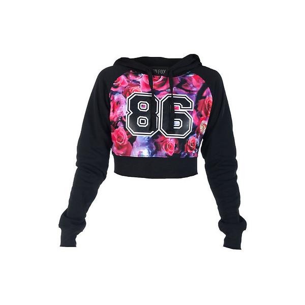 Rose print fleece crop hoodie