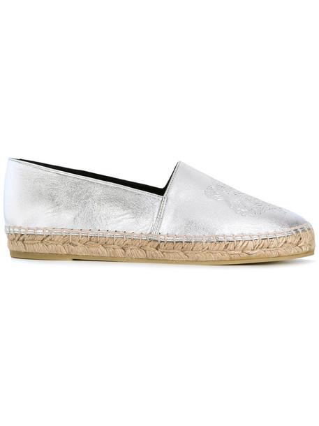 women tiger espadrilles leather grey metallic shoes