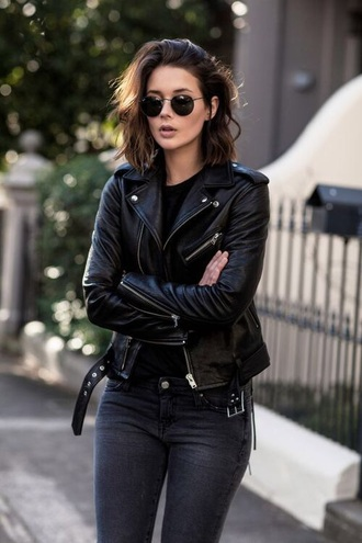 jacket leather jacket leather fashion toast autumn/winter sunglasses