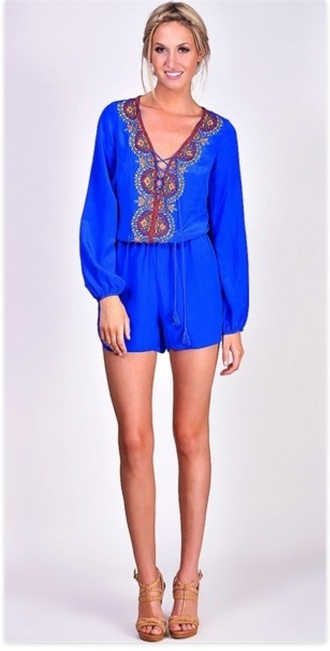 shorts blue romper tassel