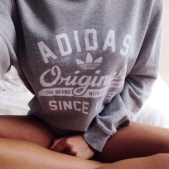 sweater adidas sweater grey adidas adidas originals white grey sweater top adidas jumper original gris sweet blanc fashion joggers girly tshirt jumper swag edgy grunge brand yolo