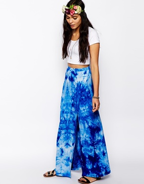 ASOS | ASOS Wrap Maxi Skirt In Tie Dye at ASOS