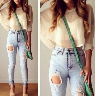 blouse cream top cropped sweater